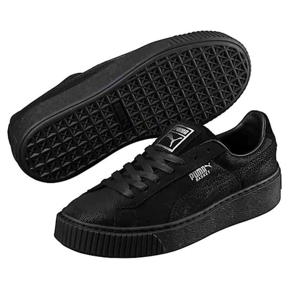 Puma Basket platform reset black women's trainers ...